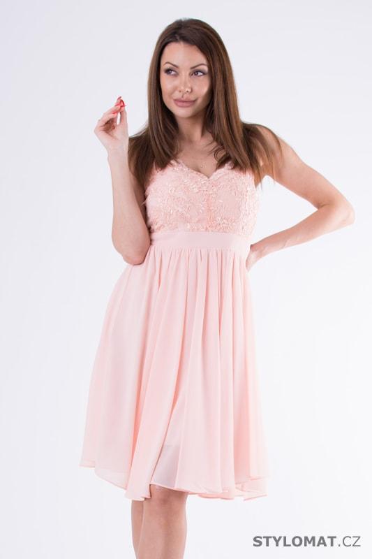 85152c3852d1 Krátké společenské šaty s krajkou růžové - Eva Lola - Krátké ...