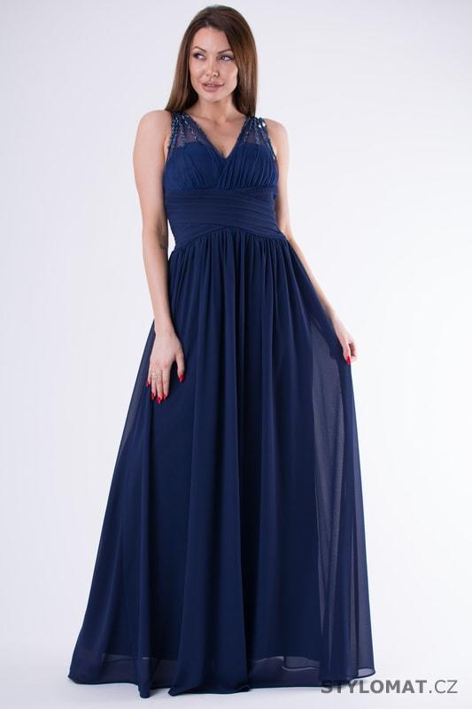 609f1289fa8e Tmavě modré večerní šaty s kamínky - Eva Lola - Dlouhé společenské šaty