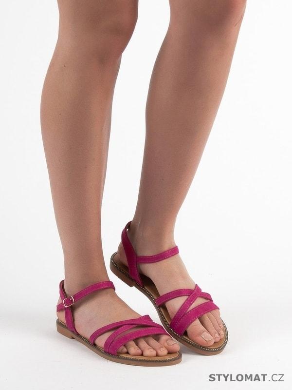 c43627680019 Semišové sandálky fuchsiové - CH. Creation - Sandále
