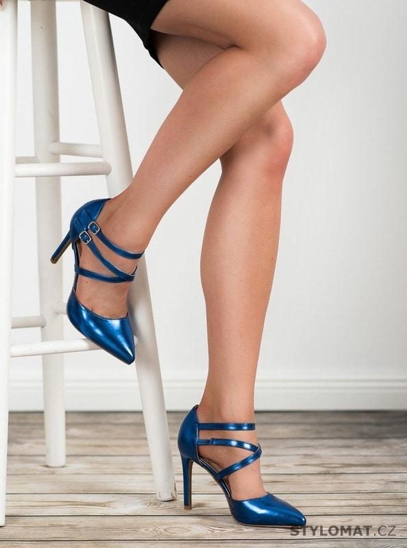 51ed639fde Lesklé lodičky fashion modré - Kylie - Lodičky