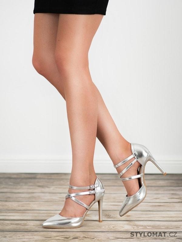 86c138b2be Lesklé lodičky fashion stříbrné - Kylie - Lodičky