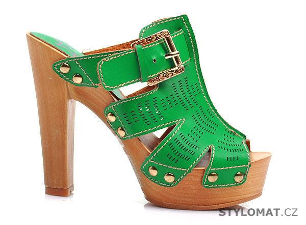 ccf0b8b523f7 Zelené dřeváky na robustním podpatku - DIVA STAR - Pantofle a žabky