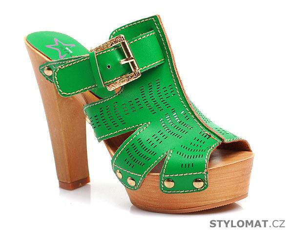 743ea728ef1c ... Pantofle a žabky    Zelené dřeváky na robustním podpatku. Previous  Next