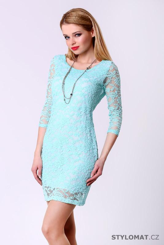 c1a592418 Trendy světle modré krajkové šaty - Drole de Copine - Party a koktejlové  šaty