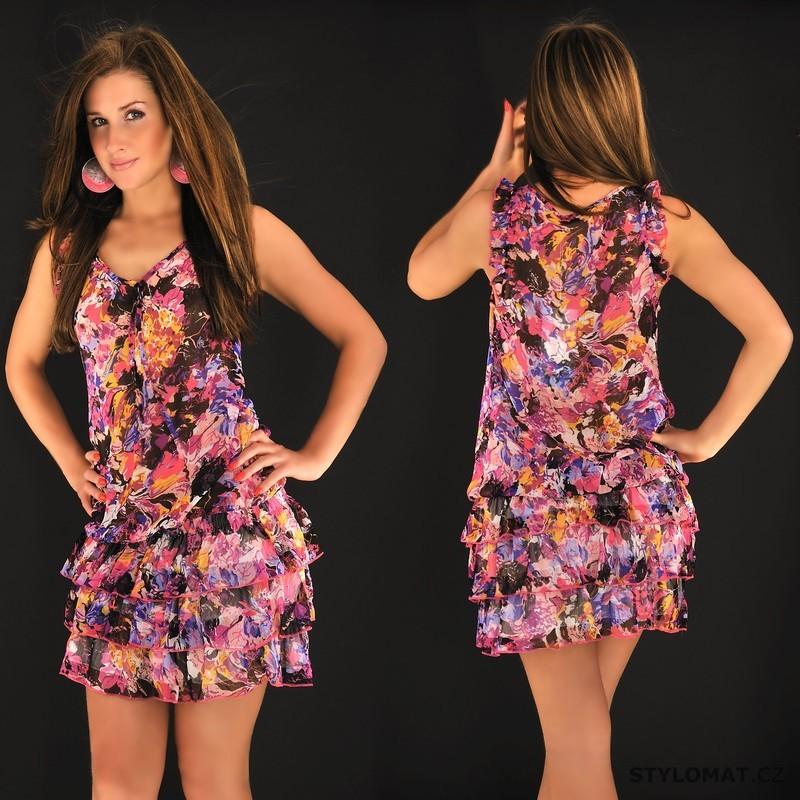 67bcea2fa0d1 Dámské šifonové růžové květované šaty - Fashion - Krátké letní šaty