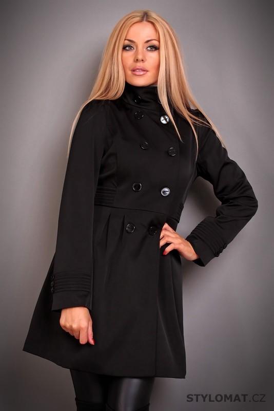 0048028b69 Elegantní dámský černý trenčkot se stojáčkem - Redial - Kabáty a kabátky