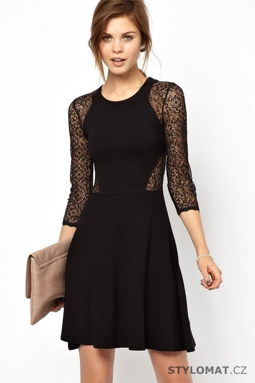 2f976b676e26 Dámské černé krajkové šaty - Damson - Krátké společenské šaty