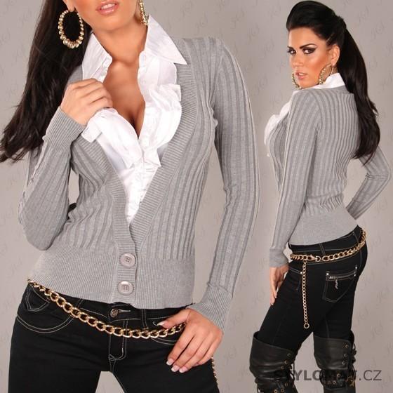 fbec8f83886f Dámský šedý svetr s bílou volánkovou košilí - Redial - Svetry