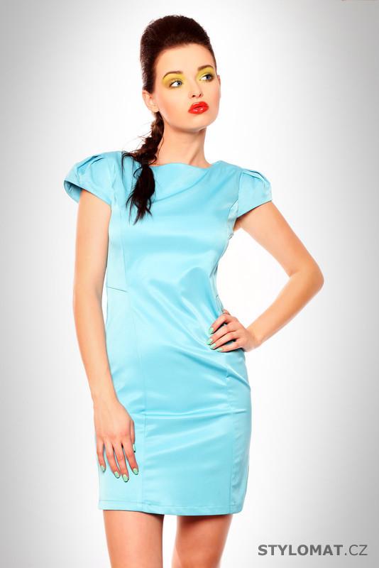 2b0e33195d4c Dámské elegantní světle modré saténové šaty - Drole de Copine - Krátké  letní šaty
