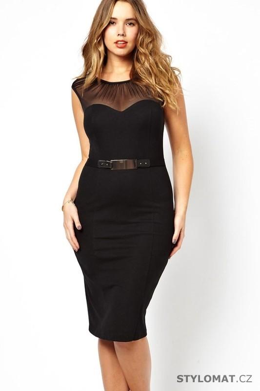 a963a82d8e3f Elegantní černé pouzdrové šaty - Damson - Krátké společenské šaty