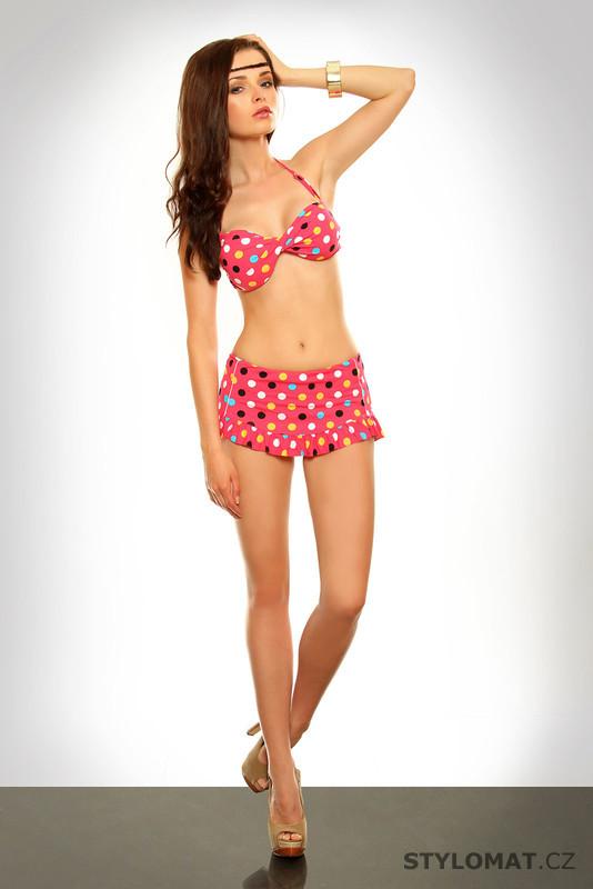 2aeba375f5 Retro růžové puntíkaté bikiny - H. Nathalie - Dvoudílné plavky