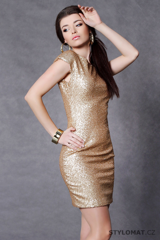 9718406f1d85 Trendy zlaté flitrové šaty - Soky Soka - Party a koktejlové šaty