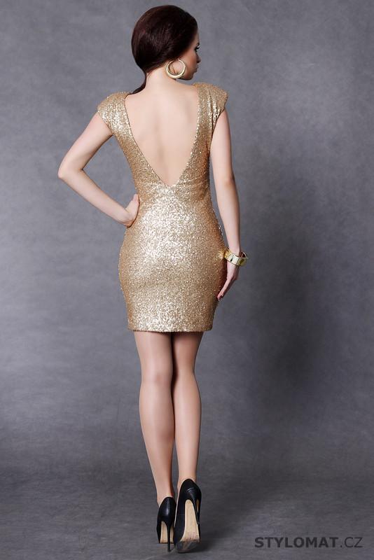 0048219235d8 Trendy zlaté flitrové šaty - Soky Soka - Party a koktejlové šaty