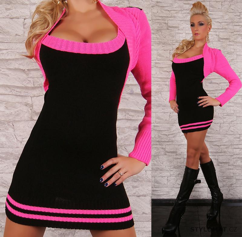 f71e8b2a5b28 Dámské černo-růžové svetrové šaty s bolerkem - Redial - Úpletové šaty