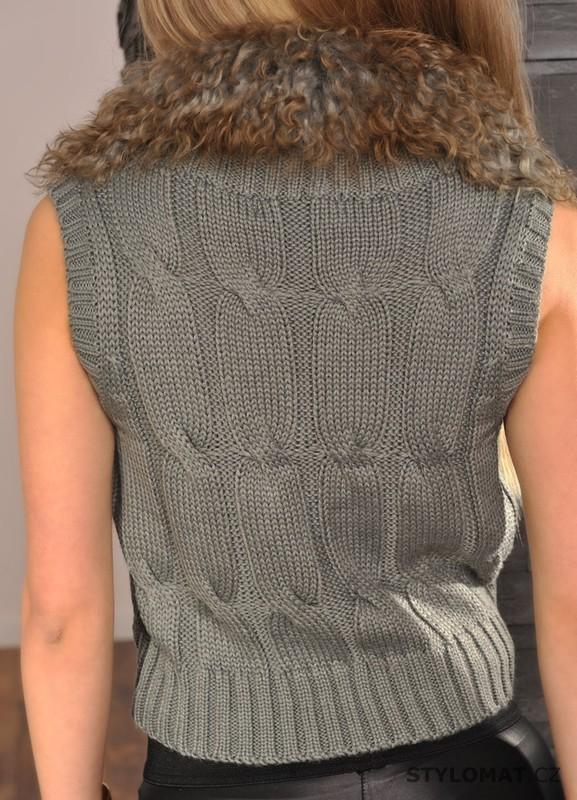 6aa4abe070c0 Módní šedá vesta s kožíškem - Fashion - Vesty