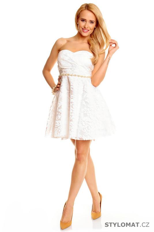 aad2517ce55a Bílé koktejlové šaty - Mayaadi - Krátké společenské šaty