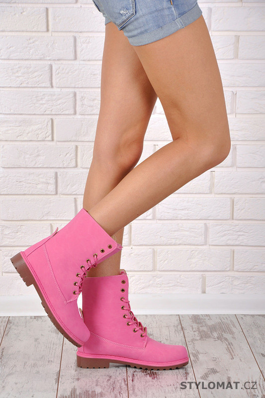 2bcd174a5 Růžové šněrovací boty - Oujinshijie - Workery, trapery, farmářky