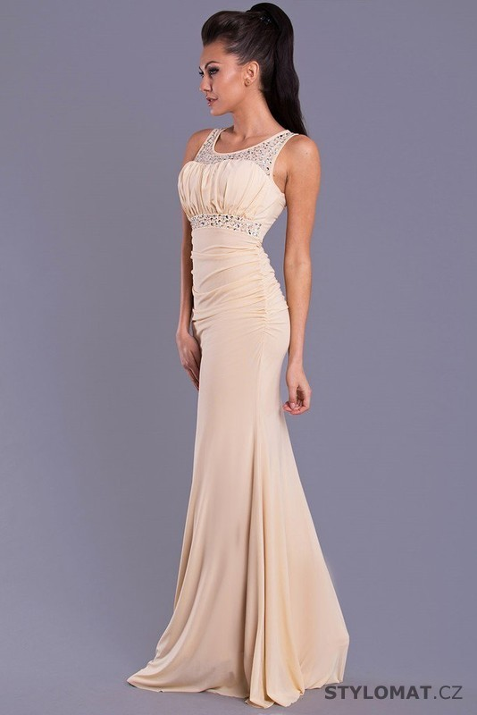 f25093f96076 Dámské dlouhé béžové společenské šaty - Emamoda - Dlouhé společenské šaty