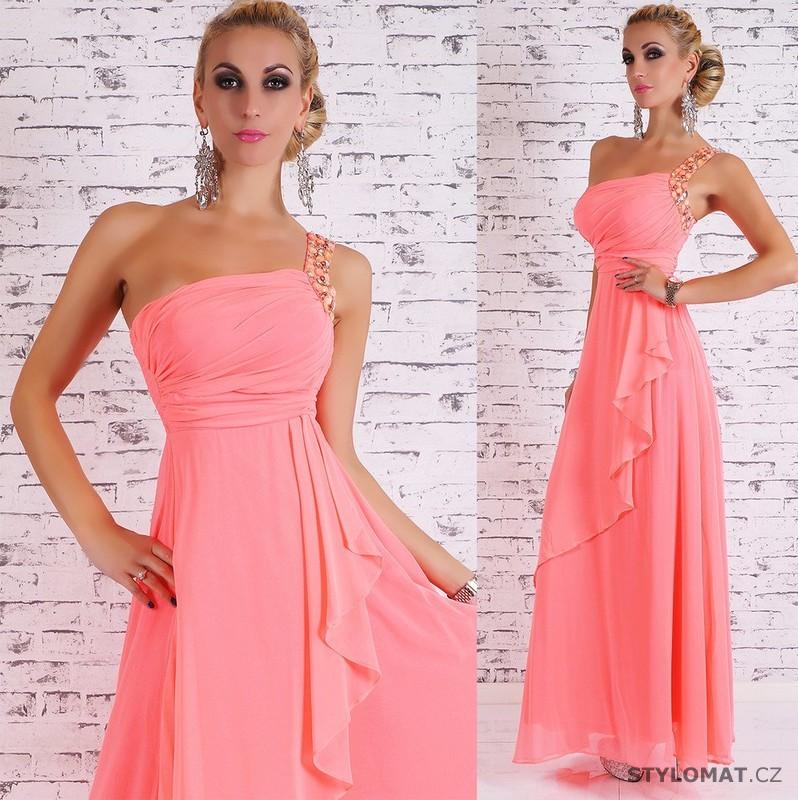 ce7f0c7e8ae0 Dámské dlouhé plesové šaty - lososové - EU - Dlouhé společenské šaty