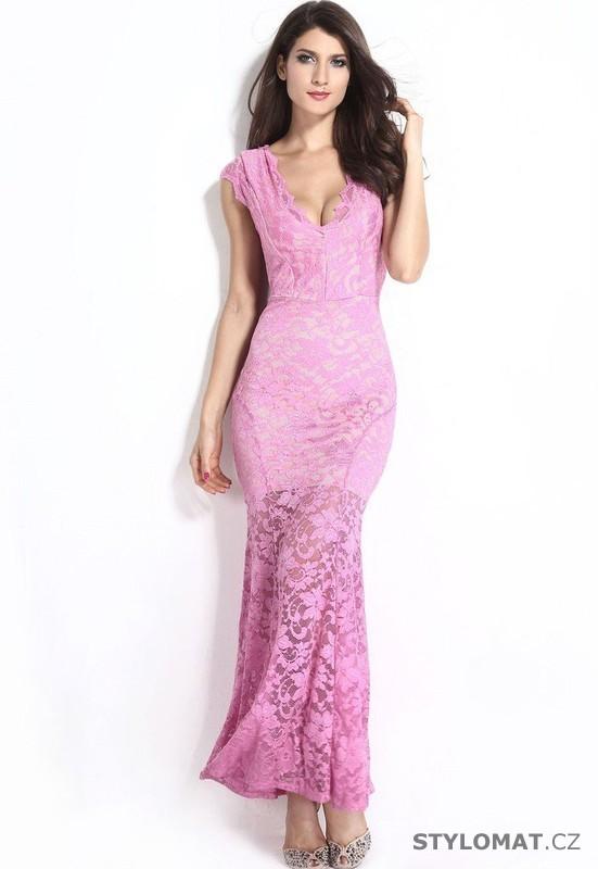 8334742dc3a5 Dlouhé krajkové sexy šaty - Damson - Dlouhé společenské šaty