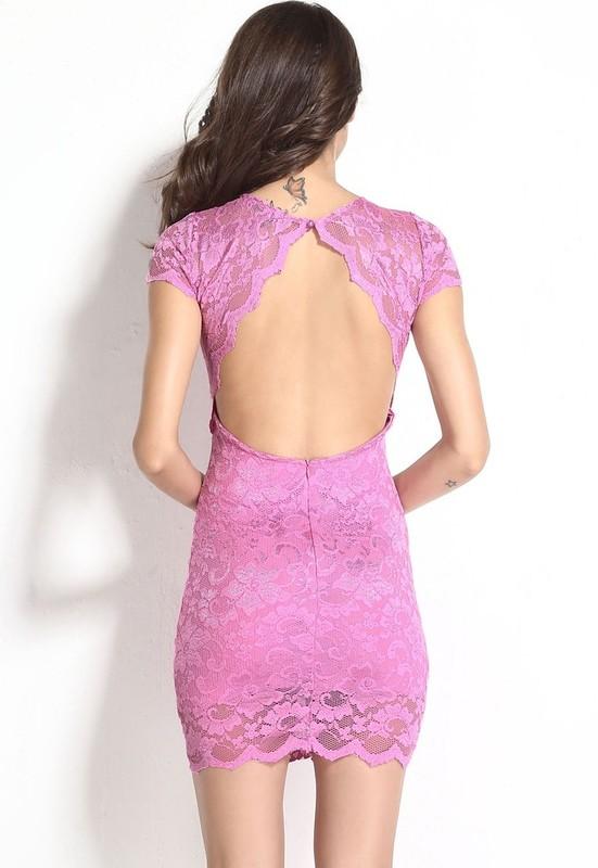 7342ae549a5b Krajkové růžové mini šaty - Damson - Party a koktejlové šaty