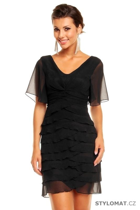 86e21093182d Dámské černé volánkové šaty - Mayaadi - Krátké společenské šaty