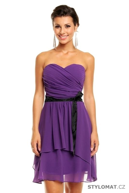 1d8ae45c1407 Dámské fialové koktejlové šaty - Mayaadi - Krátké společenské šaty