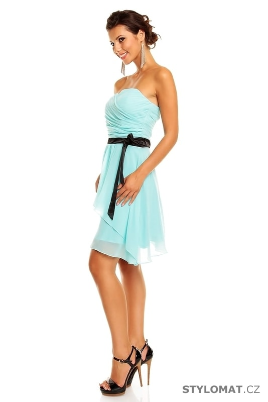 fc4684efb01f Dámské tyrkysové koktejlové šaty - Mayaadi - Krátké společenské šaty