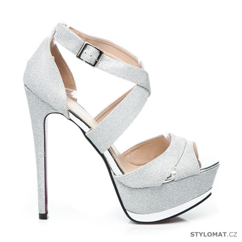 110cde5196df Blýštívé sandály na ples stříbrné - CNB - Sandále