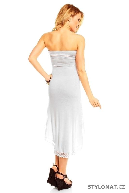 d793c70c3e5c Bílé háčkované šaty nad prsa - Best Emilie - Party a koktejlové šaty