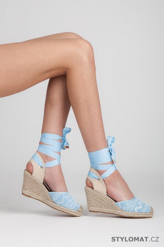 d0e476b1eebe Modré vázací espadrilky na klínu - VICES - Sandále