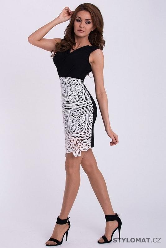 0224b39d3d3c Černé šaty s bílou krajkou na sukni - Emamoda - Party a koktejlové šaty