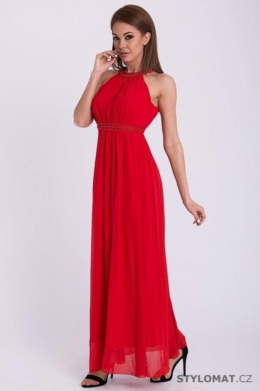 b03e57619110 Červené dlouhé šaty bez rukávů - Pink BOOm - Dlouhé společenské šaty