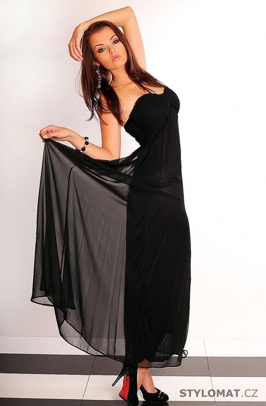ee7f504738c4 Černé dlouhé šifónové šaty - fionella - Dlouhé společenské šaty