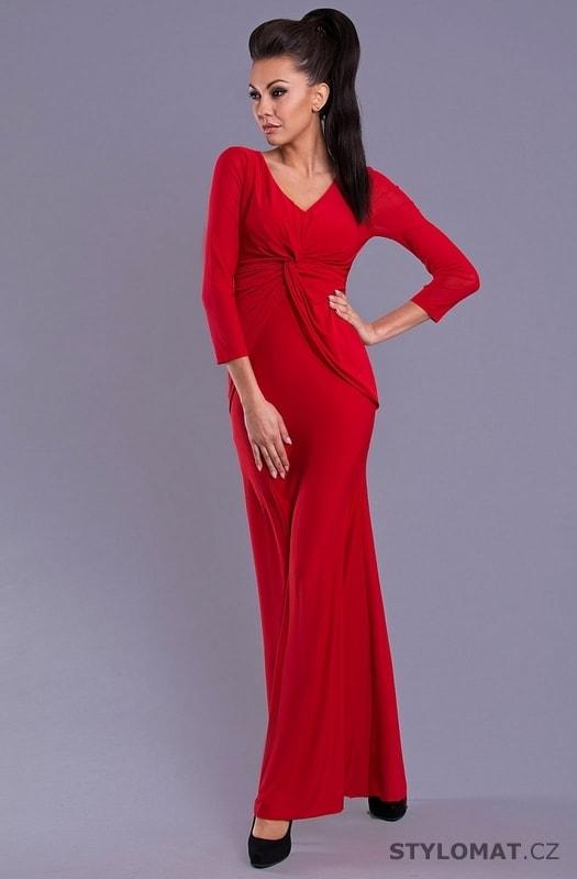f672bbfa953f Elegantní červené dlouhé šaty s dlouhými rukávy - Pink BOOm - Dlouhé společenské  šaty