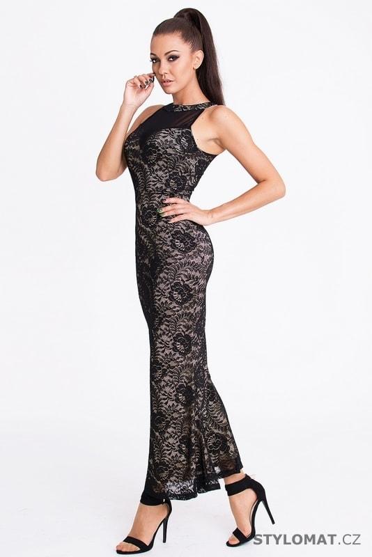 ee213198271e Černé krajkové šaty dlouhé - Emamoda - Party a koktejlové šaty