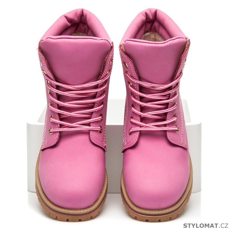 ea2097d33 Růžové kotníčkové workery - Yes Mile - Workery, trapery, farmářky