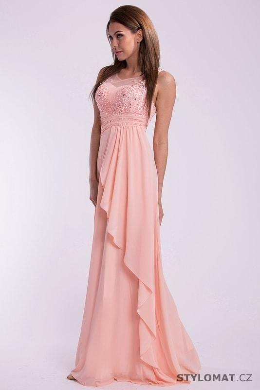 3c428e47e82c Luxusní růžové šaty na ples - Eva Lola - Dlouhé společenské šaty