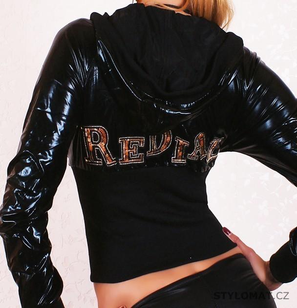 e88fc9142a88 Luxusní černá lesklá bundička s kapucí REDIAL - Redial - Jarní bundy