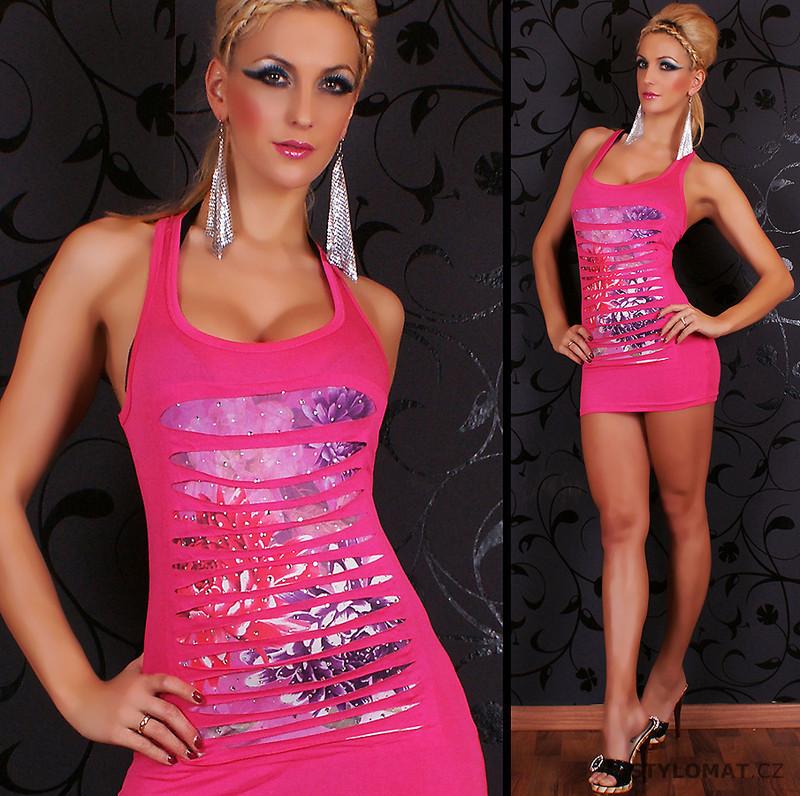 fdc0ae35ec0f Sexy dámské růžové minišaty s průstřihy a kamínky REDIAL - Redial - Minišaty