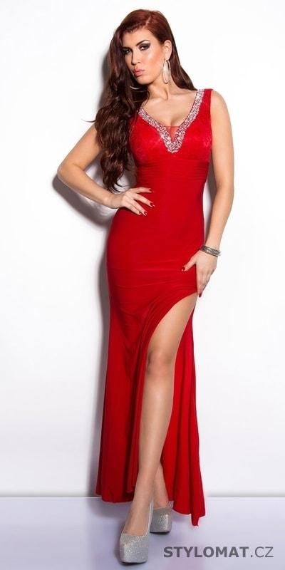 10410ba3f8e0 Červené elegantní šaty na ples - Koucla - Dlouhé společenské šaty