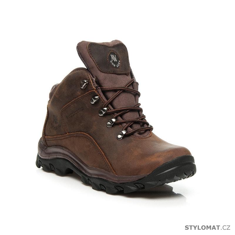 f0f3826b6 Kožené trekové boty hnědé - New age - Pánské kotníkové a farmářky