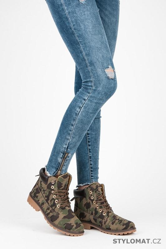 e00f0116ac7dc Dámské maskáčové kotníkové boty trapery - SEASTAR - Workery, trapery,  farmářky