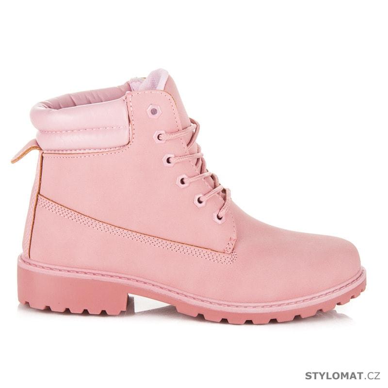 714e281be Dámské světle růžové kotníkové boty trapery - SEASTAR - Workery, trapery,  farmářky
