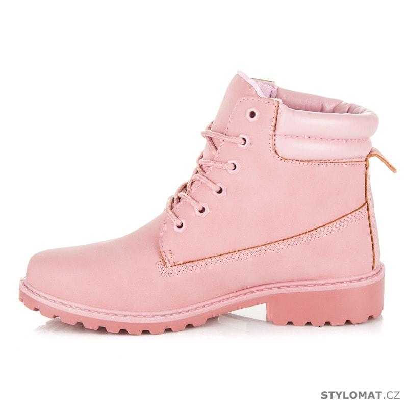 04cae6528 Dámské světle růžové kotníkové boty trapery - SEASTAR - Workery ...