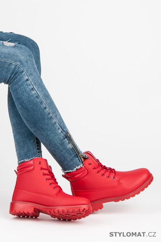 b124fb72d Dámské červené kotníkové boty trapery - SEASTAR - Workery, trapery ...
