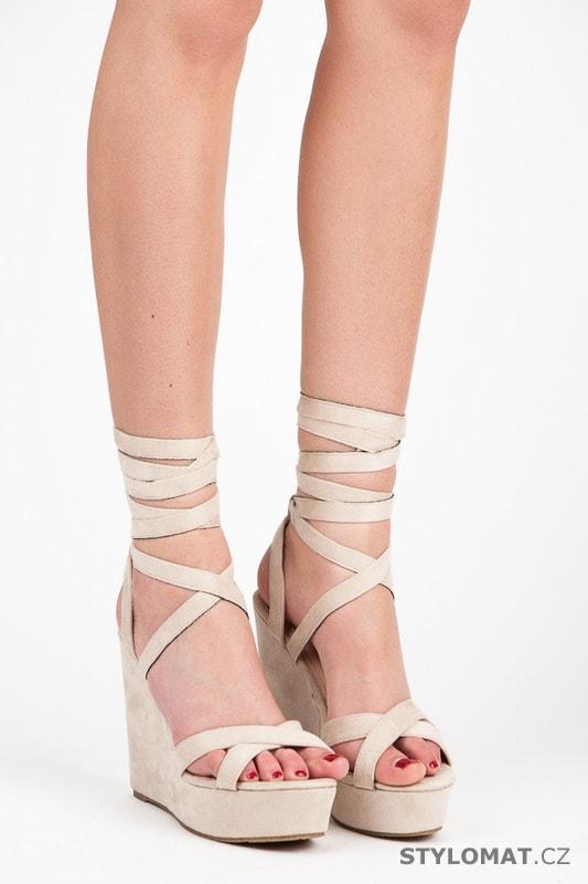 586e4b104beb Vázané sandály na klínu béžové - SERGIO TODZI - Sandále