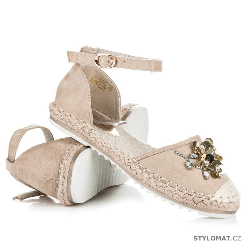 c667464c6252 Sandály espadrilky s květy béžové - Marquiz - Sandále