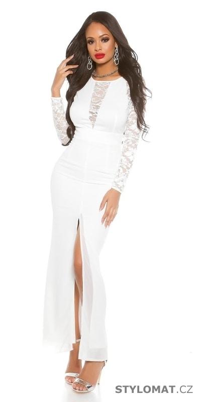 6133f844a087 Dámské bílé dlouhé šaty - Koucla - Dlouhé společenské šaty