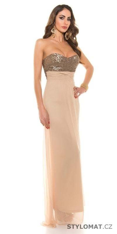 ddc5e53dac37 Béžové dlouhé šaty na ples - Koucla - Dlouhé společenské šaty